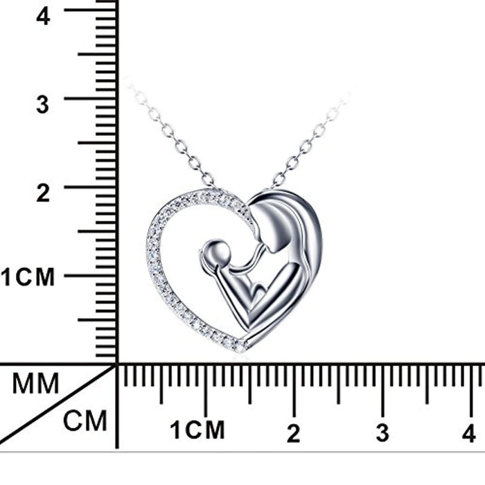 Mother and Child Infinity Love A Mother's Love is Forever Sterling Silver Pendant Necklace,18'''