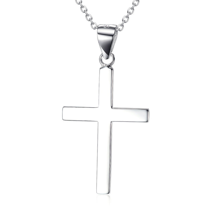 "Sterling Silver Infinity Cross Pendant Necklace for Women Girls Boys  18"" Cross Necklace"