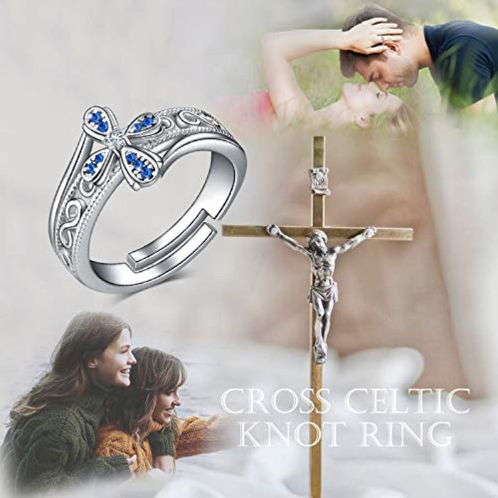 Celtic Knot Ring For Women Or Teen Girls Sterling Silver Adjustable Bands Ring