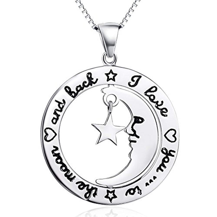 Sterling Silver I Love You to The Moon and Back Star Moom Pendant Necklace 18""