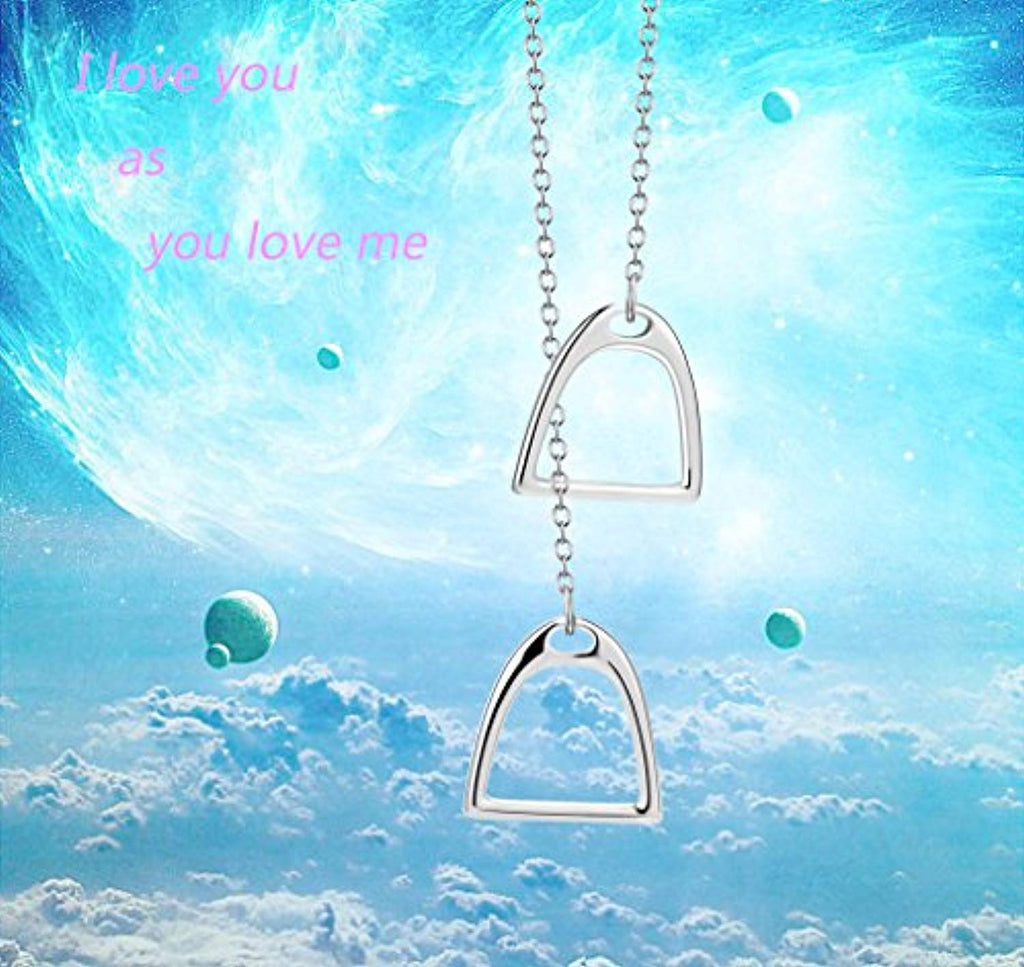 Horse Gift Jewelry 925 Sterling Silver Simple Double Horse Strirrup Lariat Necklace