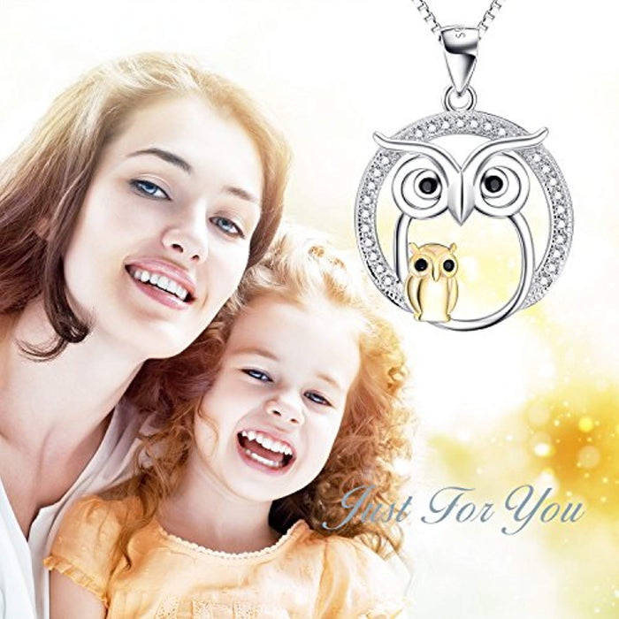 Owl Necklace Sterling Silver Mother and Baby Owl Pendant Necklace for Women Girls