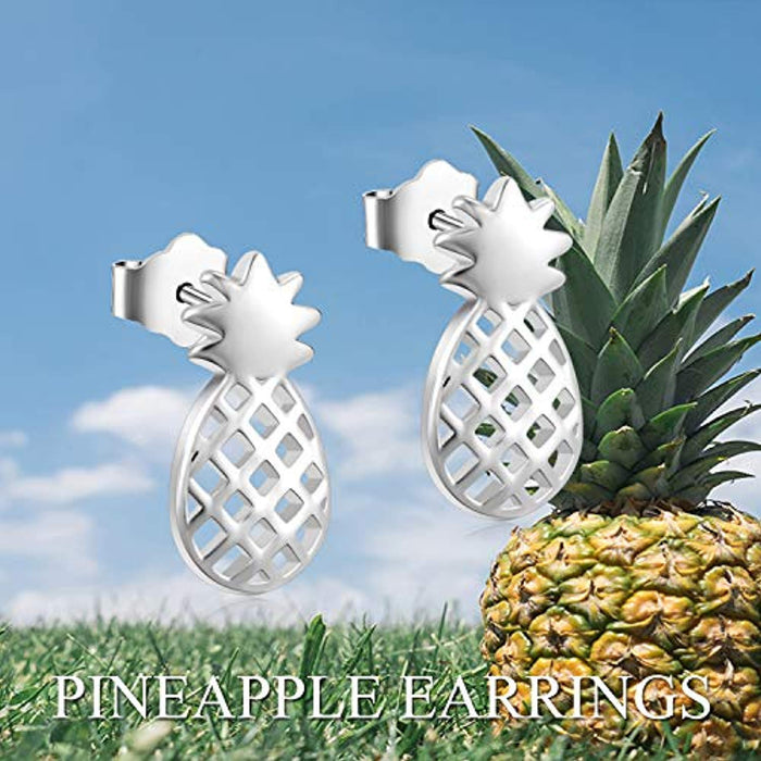 925 Sterling Silver Pineapple Stud Earrings Jewelry for Women Girl kid Ear Stud