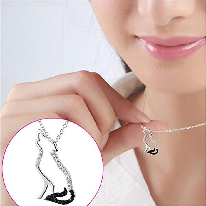 Wolf Pendant Necklace 925 Sterling Silver Cubic Zirconial Necklace 18""