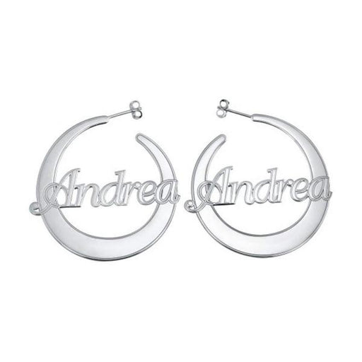 Copper/925 Sterling Silver Personalized Flattened Hoop Name Earrings
