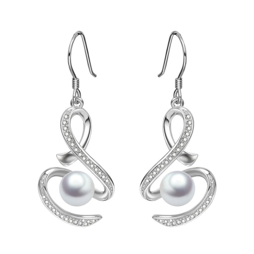 Infinity Earrings Sterling Silver Pearl Dangle Drops with Fishhook Anniversary Gifts for Women