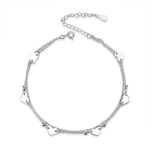 Heart Charm Bracelet Sterling Silver Anklet Chain Bracelet Beach Foot Jewelry for Women Little Girls