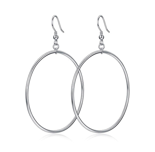 Hoop Earrings Sterling Silver Large Circle Endless Earrings Jewelry for Women Girls