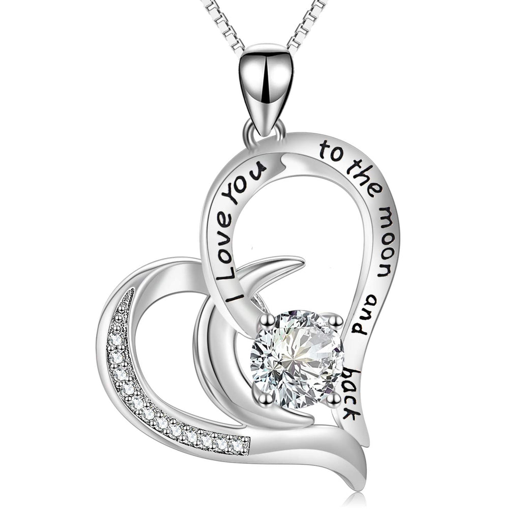 I Love You to The Moon and Back Heart Necklace with Crystal Crystals Mom Necklace for Mothers