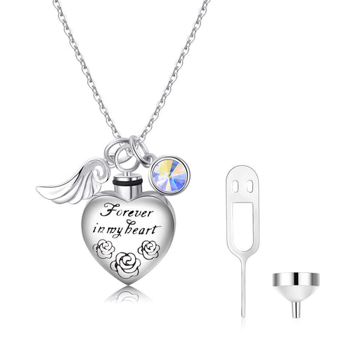 Love Heart URN Necklace Silver Heart Pendant Necklace with Swarovski Crystal