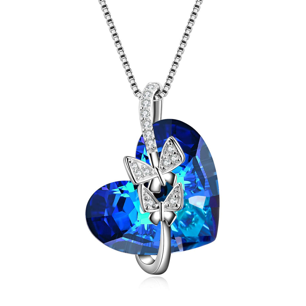 Heart Necklaces for Women Blue Swarovski Crystals Rose Jewelry