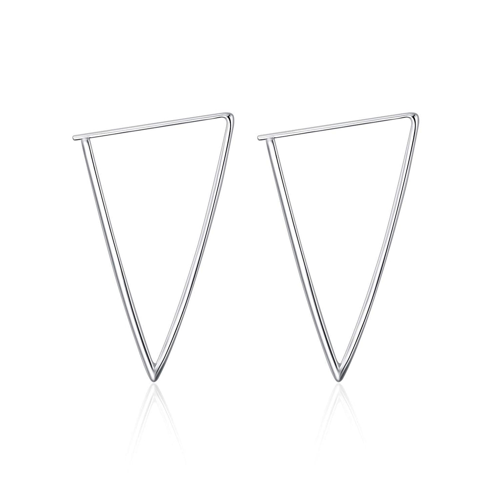 925 Sterling Silver Circle Endless Hoop Earrings for Women Girls triangle hoop earrings