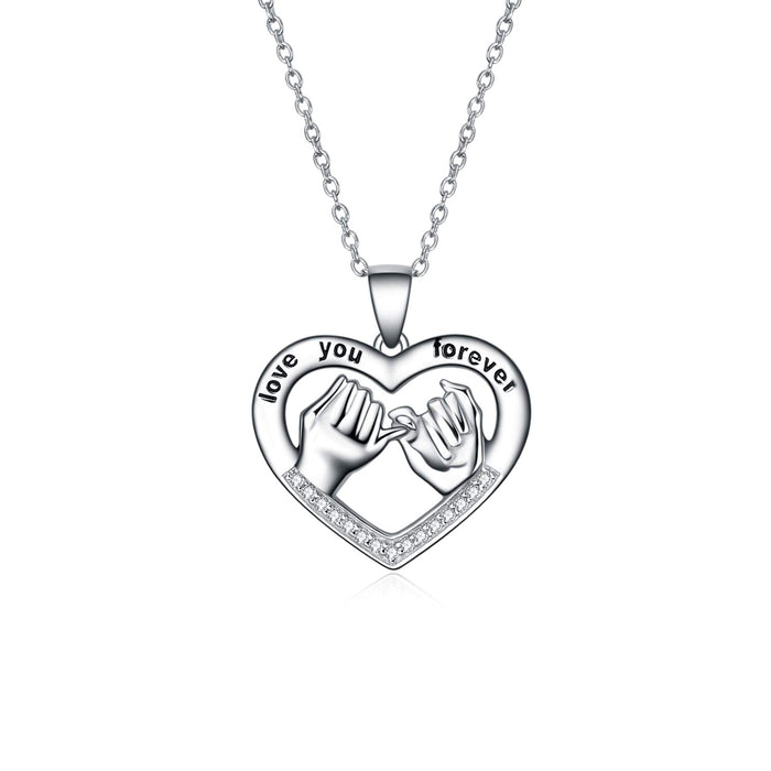 "925 Sterling Silver Sister Friendship Necklace Forever My Friend Love Heart Pendant 18"" Necklace"