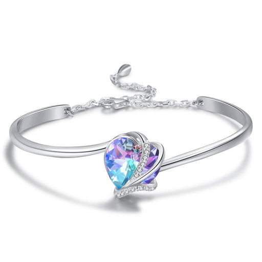 Love Heart Adjustable Bangle Bracelets-Blue Purple Crystals from Swarovski I Love You Bracelet Hypoallergenic