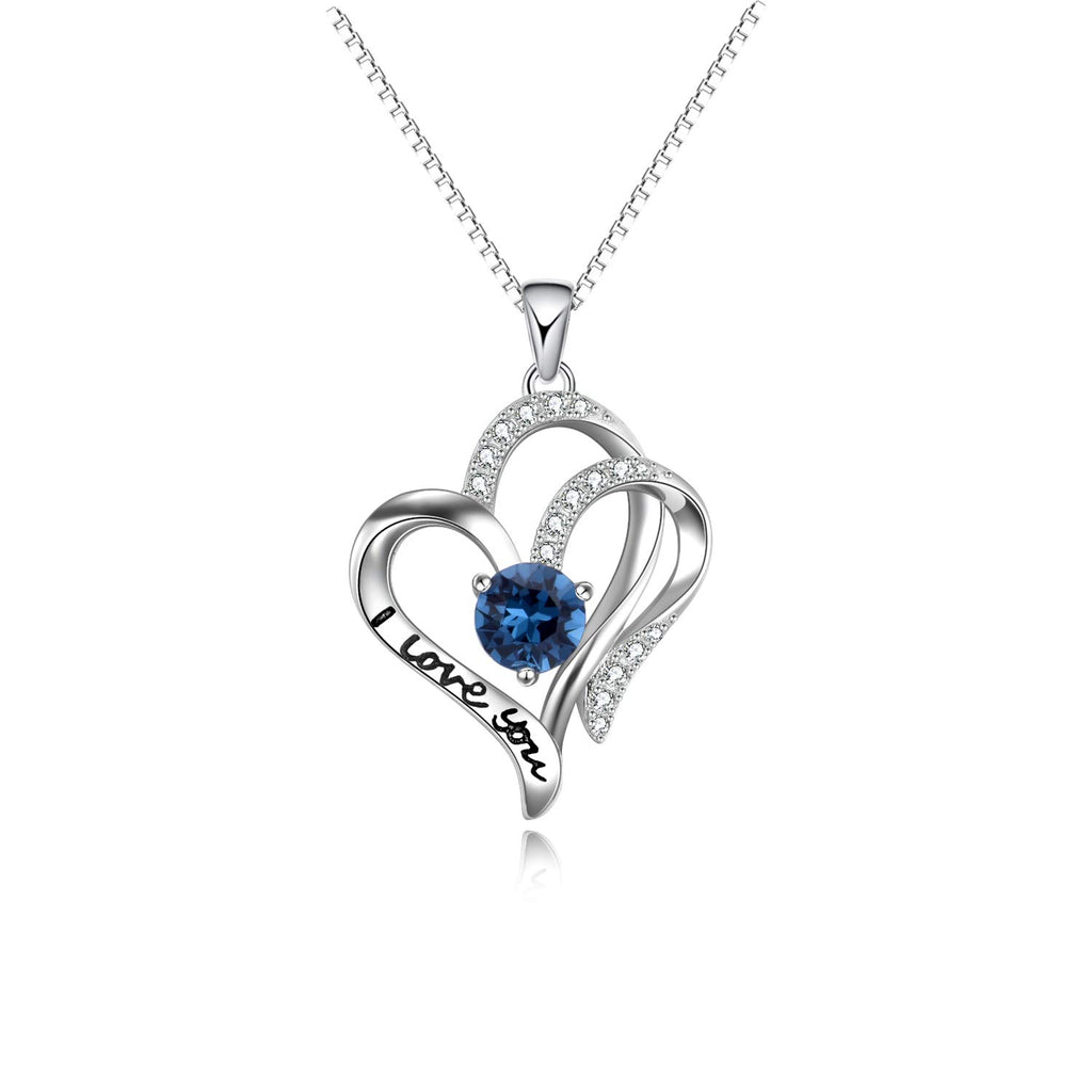 I Love You Engraved Mom Daughter Necklace Heart to Heart Sterling Silver Love Circle Pendant with Sapphire Crystal