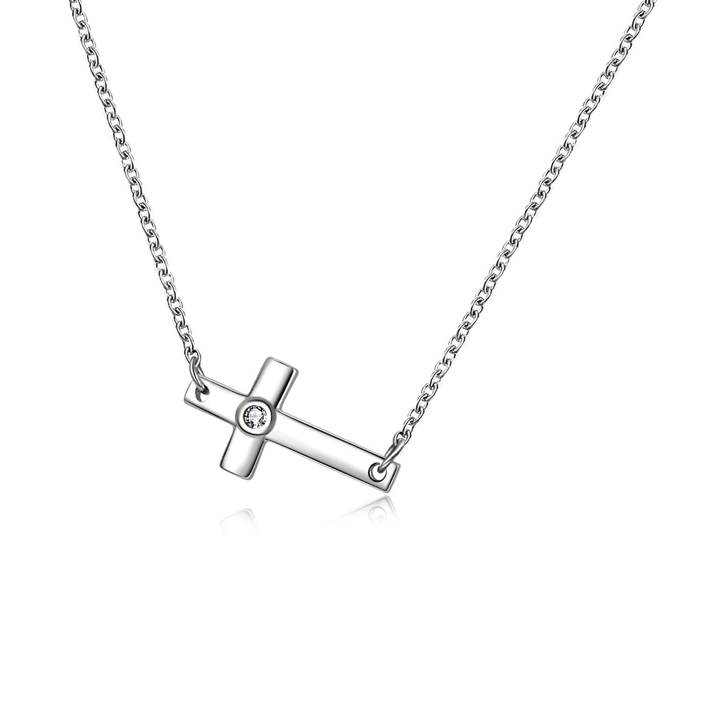 Sterling Silver Infinity Cross Pendant Necklace for Women Girls Boys  Sideways Cross Necklace 18