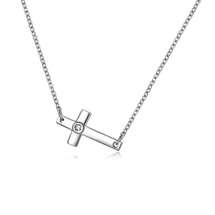 Sterling Silver Infinity Cross Pendant Necklace for Women Girls Boys  Sideways Cross Necklace 18""