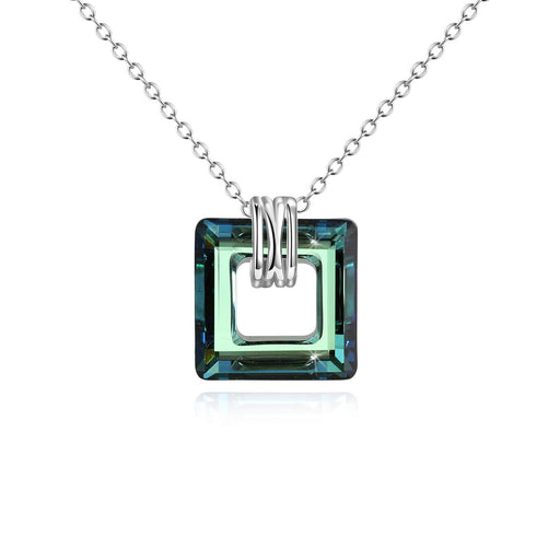 Square Crystal Pendant Necklace for Women Girls