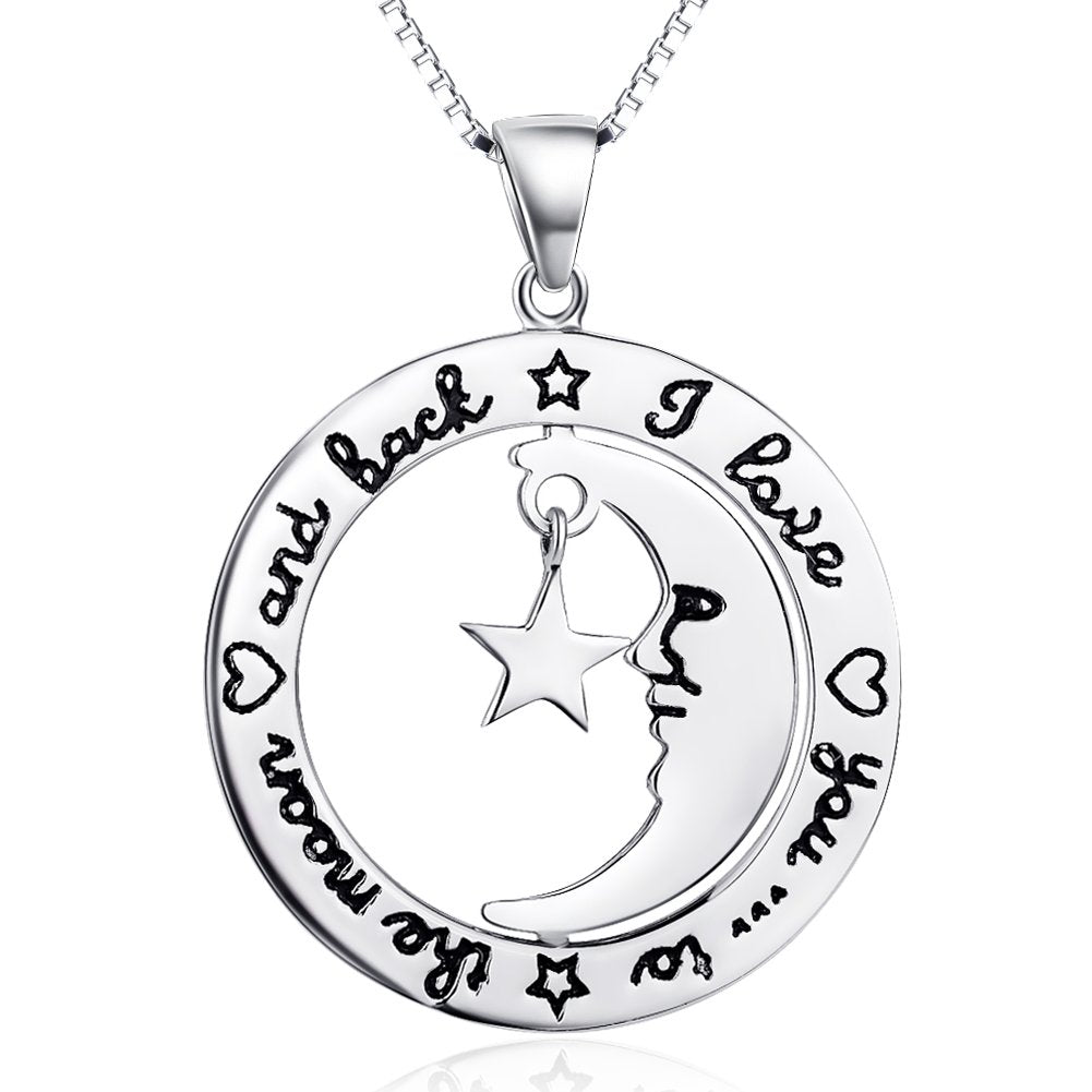 Sterling Silver I Love You to The Moon and Back Star Moom Pendant Necklace 18