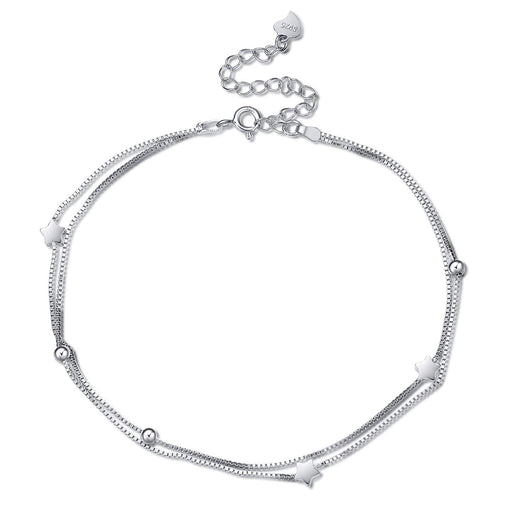 Sterling Sliver Boho Beach Adjustable Ankle Bracelet