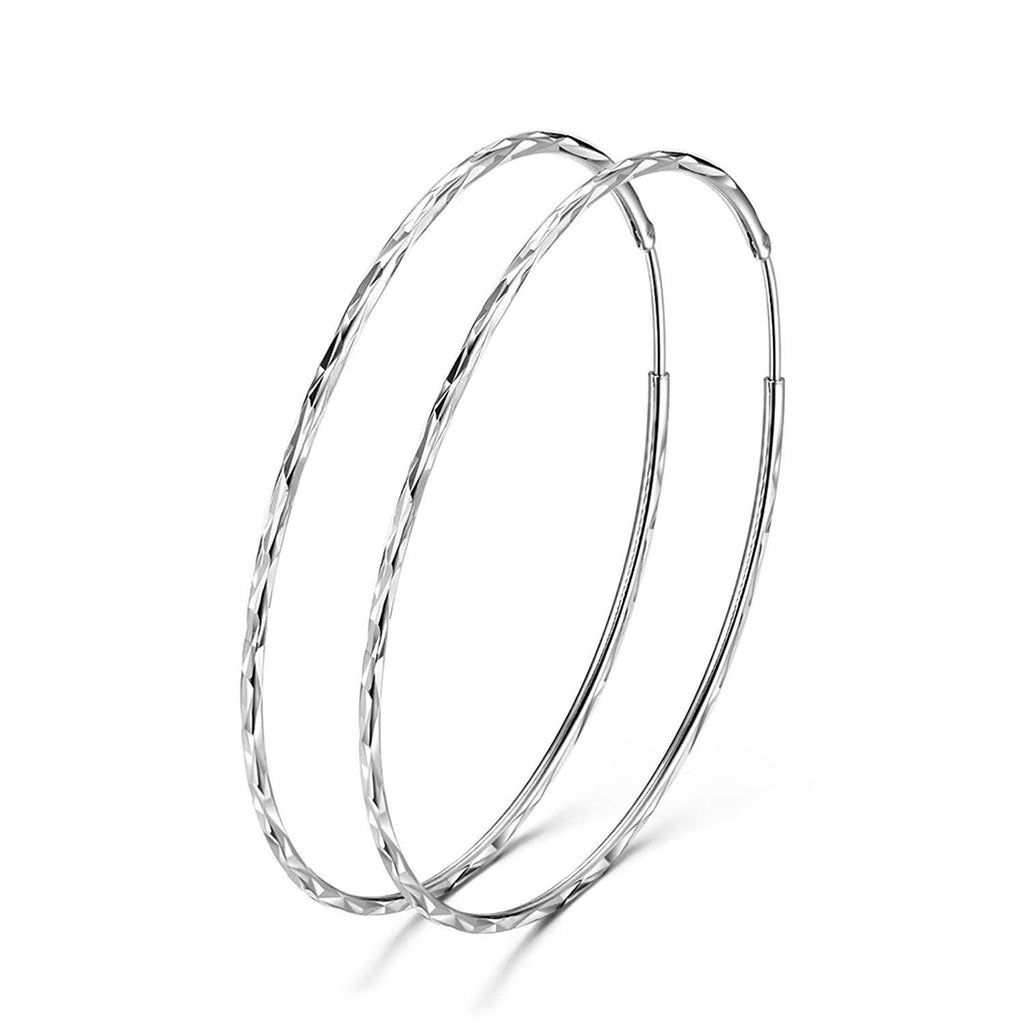 925 Sterling Silver Circle Endless Hoop Earrings for Women Girls  60MM Hoop Earrings