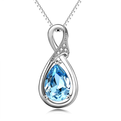 925 Sterling Silver Teardrop Pendant Necklace with Blue Crystal Crystals Jewelry