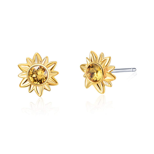 Sun Flower Series Earrings Studs with Crystal Crystal