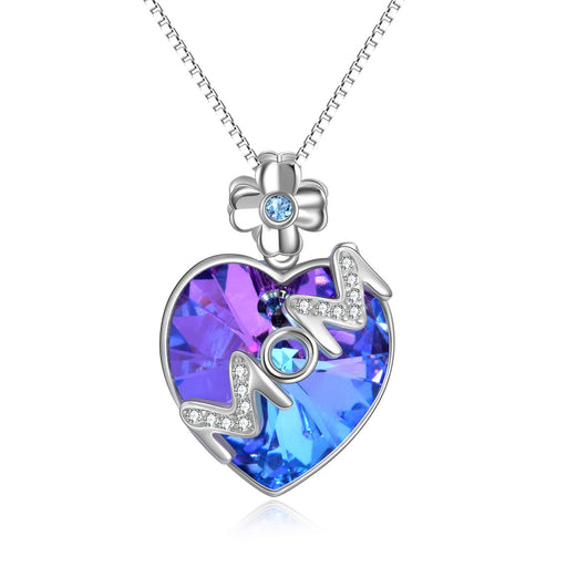 Sterling Silver Heart Necklace Crystals from Crystal, Jewelry with Gifts Package