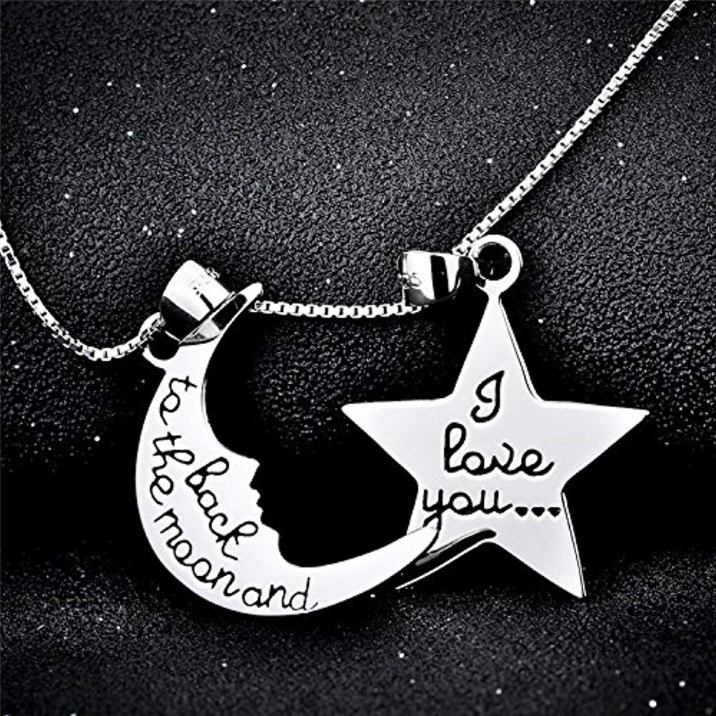 Sterling Silver I Love You to The Moon and Back Pendant Necklace 18