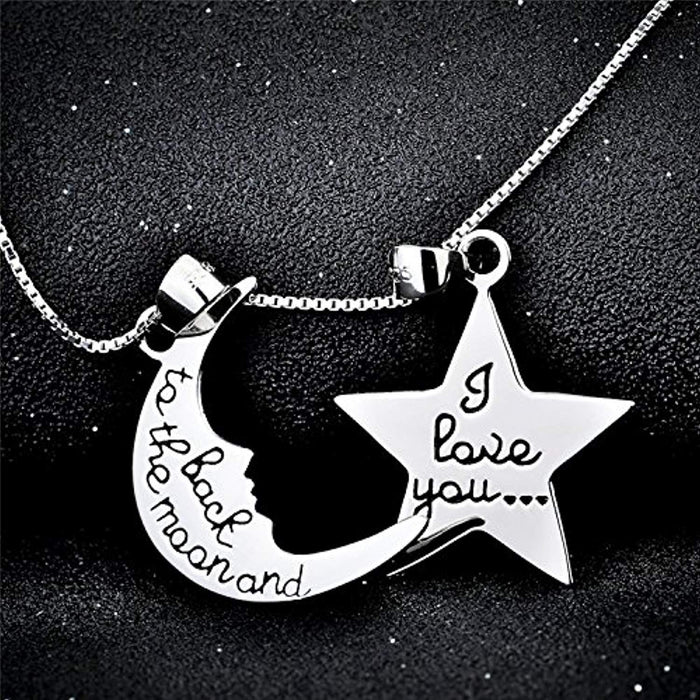 Sterling Silver I Love You to The Moon and Back Pendant Necklace 18""