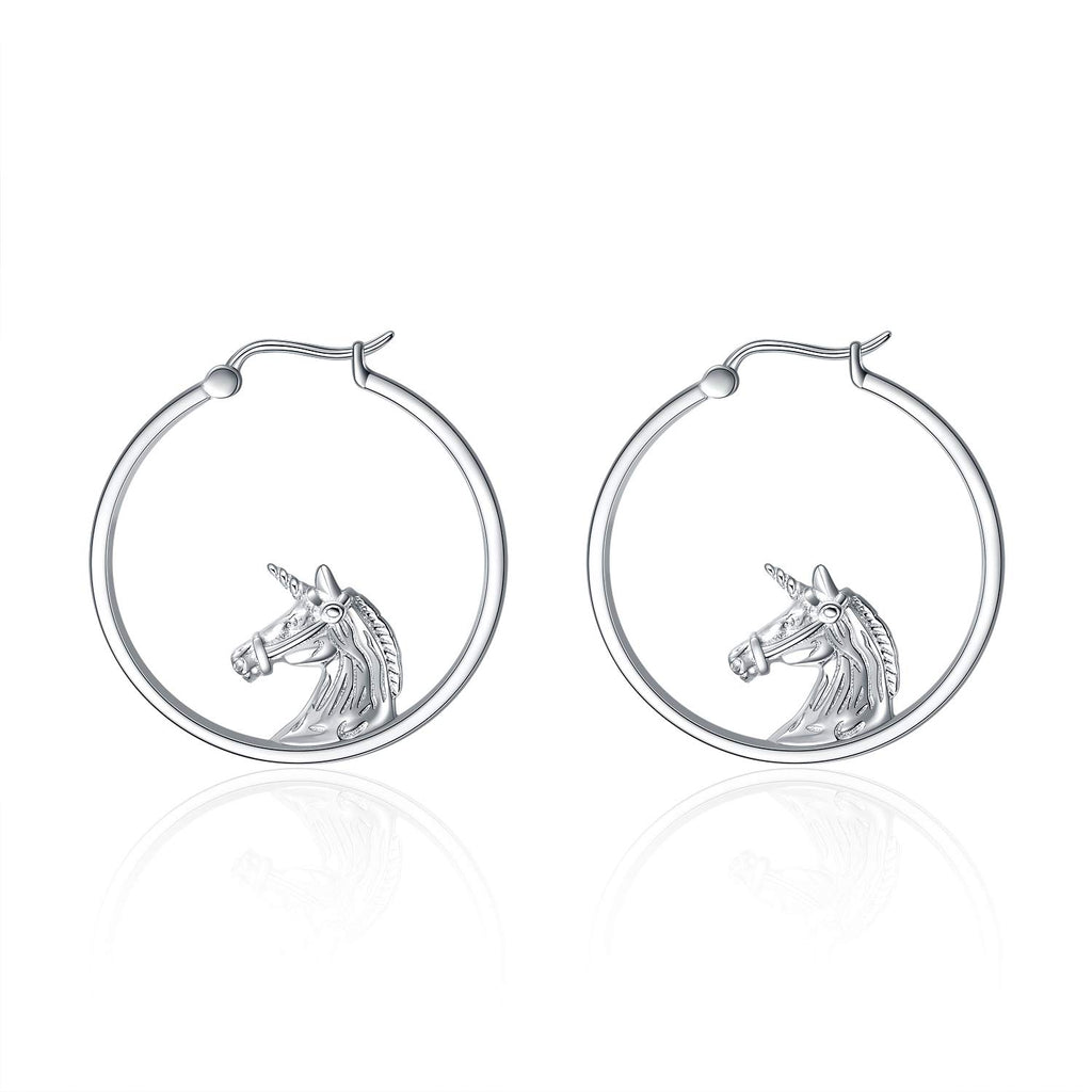 Unicorn Round Earrings Sterling Silver Gift for Women, Girls, Kids