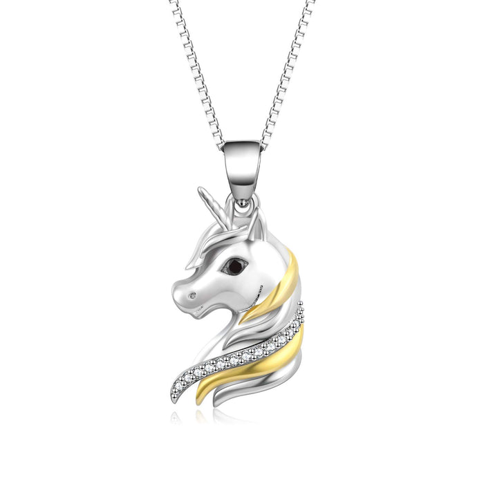 Sterling Silver Unicorn Two-Tone Pendant Necklace for Women Or Girls