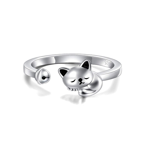 Cat Ring Cute Rings For Women Or Teen Girls Sterling Silver Adjustable US Size 5.5 to size 7
