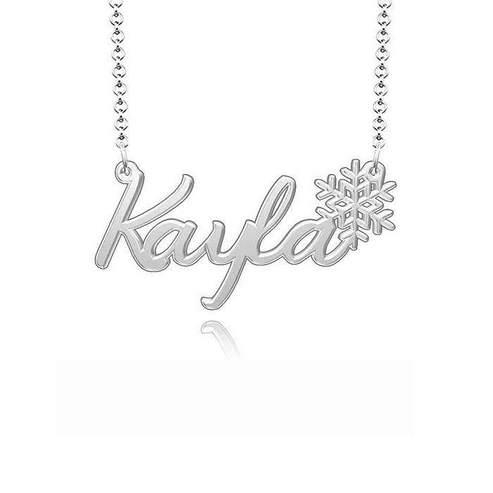 "925 Sterling Silver Personalized Snowflake Name Necklace Snowflake Pendant Necklace Adjustable Chain 16""-20"""
