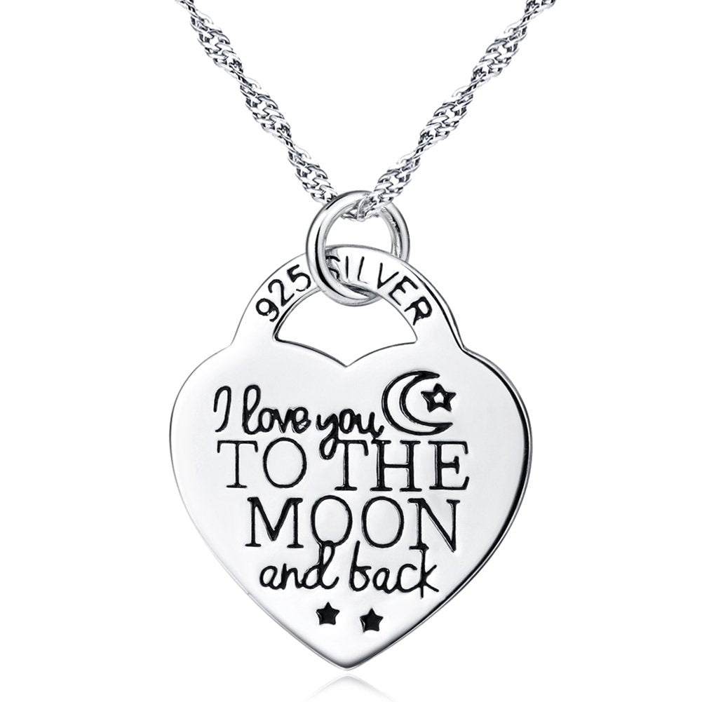 Sterling Silver I Love You to The Moon and Back Dog House Moom Pendant Necklace 18