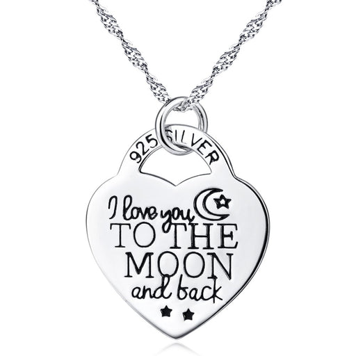 Sterling Silver I Love You to The Moon and Back Necklace 18""
