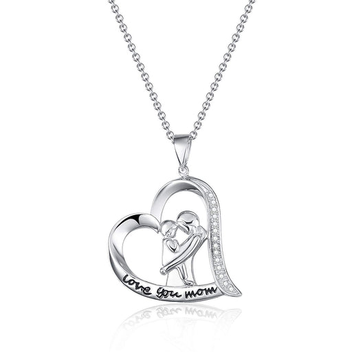 Mom Necklace Sterling Silver Heart Engraved Love Mom Jewelry18""
