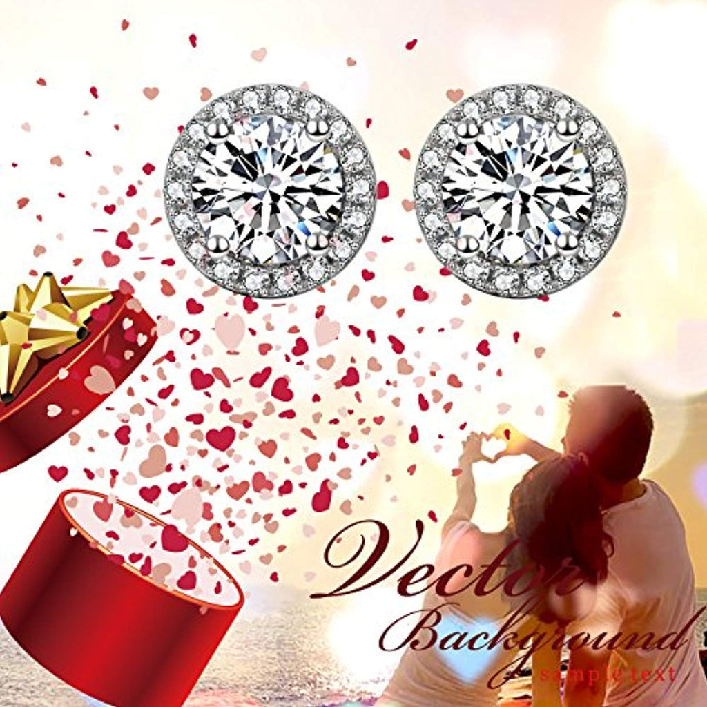 925 Sterling Silver Round Cubic Zirconial 10 mm Halo Stud Earrings for Women