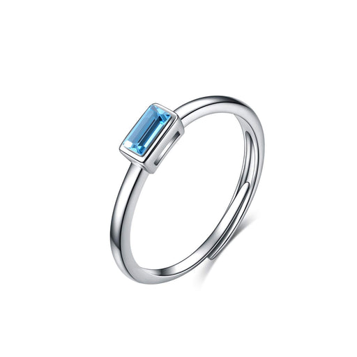 Aquamarine Blue Crystal Dainty Stacking Rings