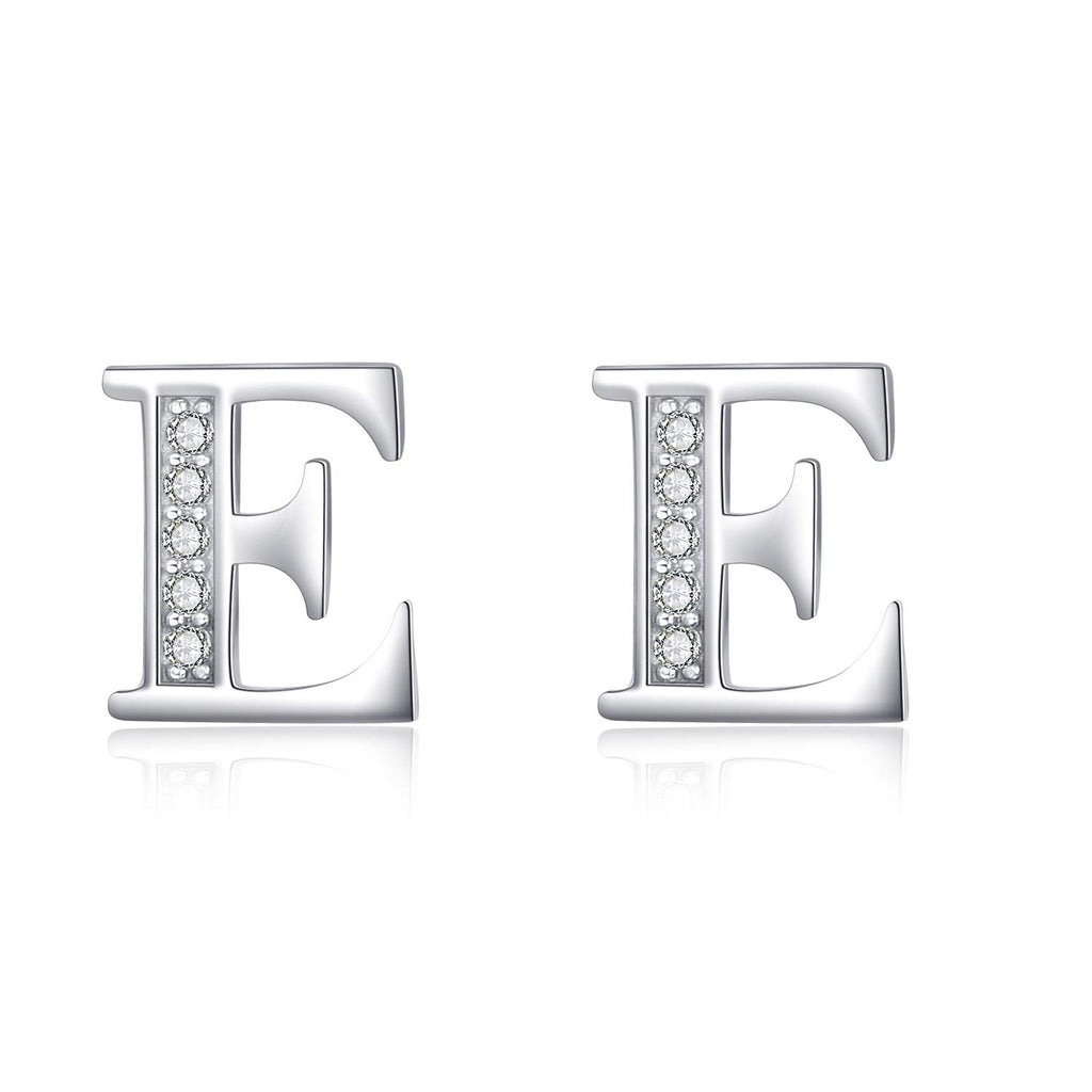 Initial Earrings in 925 Sterling Silver with Cubic Zirconial 26 Letter Alphabet Jewelry for Women Teen Girl