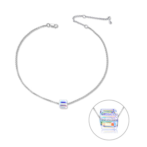 "Adjustable 11"" 925 Sterling Silver Anklet Bracelet with Swarovski Crystal"