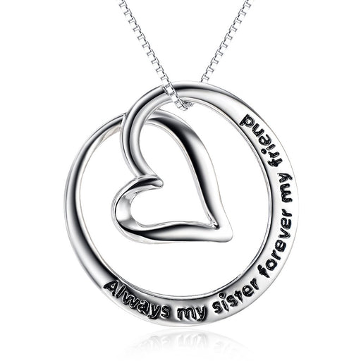 925 Sterling Silver Always My Sister Forever My Friend Love Heart Pendant Necklace18""