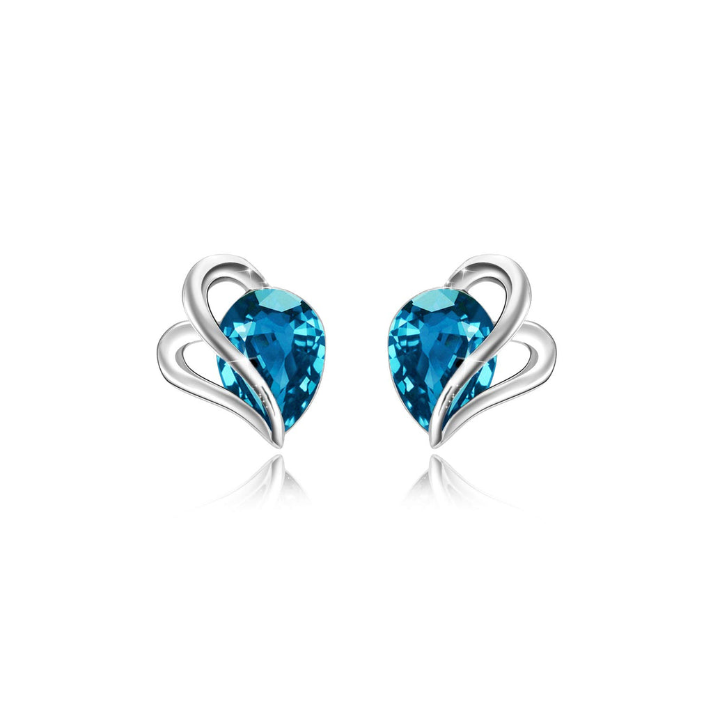 Blue Crystal Silver Earrings Studs for Girls, Crystal Element