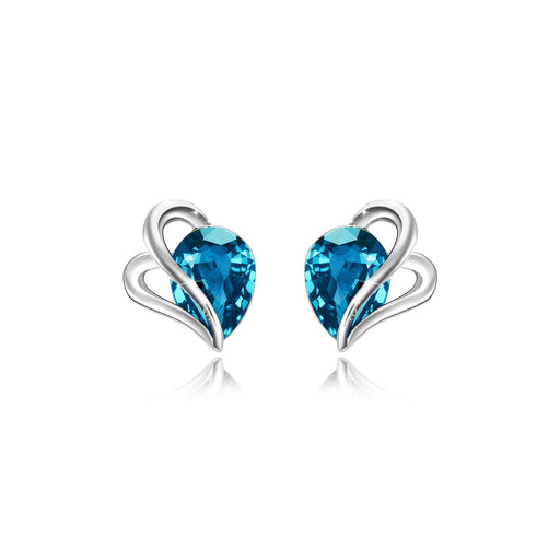 Blue Crystal Silver Earrings Studs for Girls, Swarovski Element