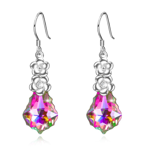 Sterling Silver Love Heart Dangle Drop Earrings with Swarovski Crystals