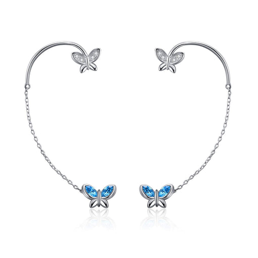 Butterfly Earrings with Simulated Aquamarine Swarovski Crystals,Ear Cuff Stud Earrings