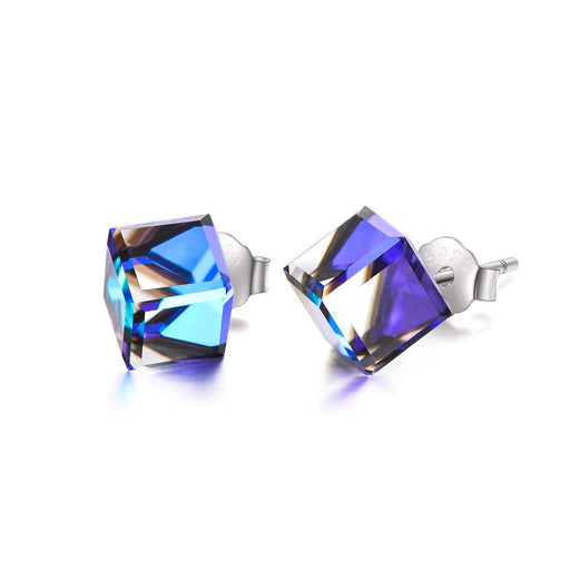 Hypoallergenic Sterling Silver Cube Stud Earrings with Blue Aurora Crystals from Swarovski Valentines Day Gifts