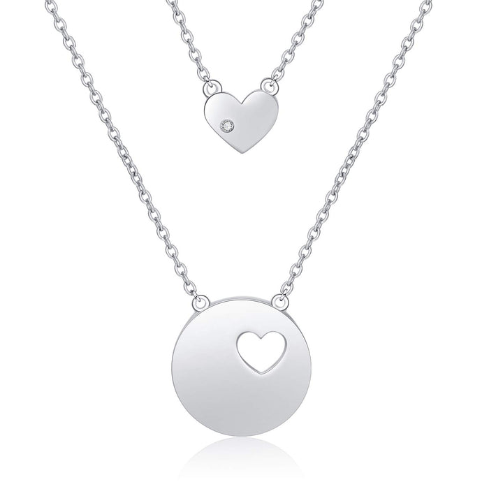 Sterling Silver Star Crescent Moon Shell Pearl Compass Cross Heart Pendant Necklace Layered Chain Jewerly Gifts for Women Girls Kid