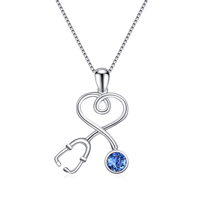 Stethoscope Series Necklace Simulated Birthstone Nurse Pendant Necklace
