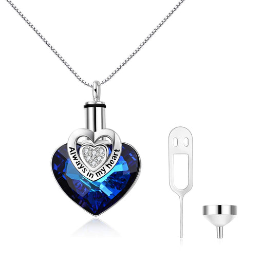Love Heart URN Necklace Sterling Silver Heart Pendant Necklace with Crystal Crystal